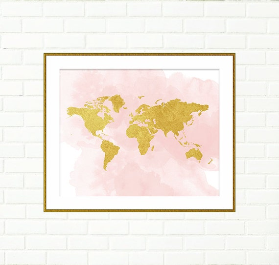 Baby girl nursery art print gold world map pink gold wall like this item sciox Gallery