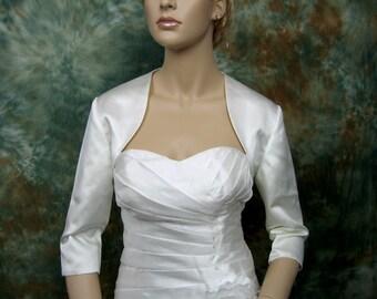 3/4 sleeve satin bolero wedding bolero jacket shrug - available in ivory and white