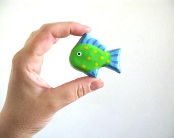 Drawer Knob for Kids Room - Green Fish - ceramic dresser knob