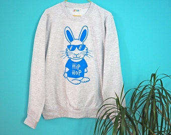 Hip Hop Bunny Jumper, Funny Rapper Sweater, Grey Sweatshirt Blue Rabbit, Screenprinted Sweater, Unisex Jumper, Men's Hip Hop Clothing