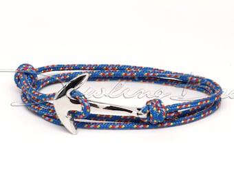 Silver Anchor Bracelet on Reflective Blue Rope