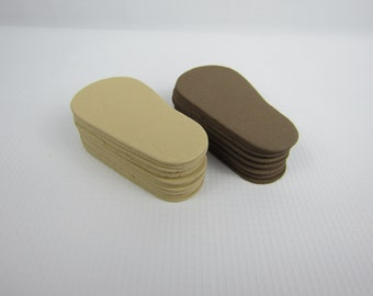 """2mm Doll Soles, 24-Pack Doll Soles, 12-Brown 2mm Foam Doll shoe Soles, 12-Beige Foam Doll shoe Soles, 18"""" die cut doll soles, free shipping"""