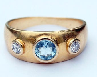 14k gold Aquamarine and Diamond Gypsy Ring, sz 7.5, 4.5 grams