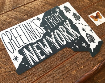 New York Postcard, Greetings from New York, Single Die Cut Letterpress State Postcard