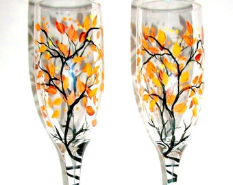 Fall Leaves Fall Trees Autumn Hand Painted Wedding Champagne Flutes 2 - 6 oz. Toasting Flutes Free Personalization Orange Yellow Brown