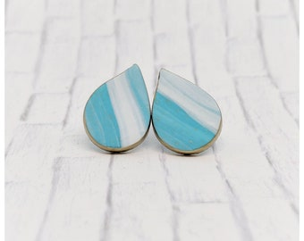 Turquoise and white earrings teal and white earrings lightweight earrings stud earrings nickel free teardrop earrings polymer clay jewelry