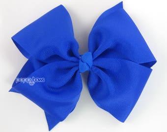 """Blue Hair Bow - 5"""" Girls Hair Bow, Big Hair Bow, 5 inch Bows, Pinwheel Flat Hair Bow, Electric Blue Large Hair Bows, Baby Hair Bow, Cobalt"""