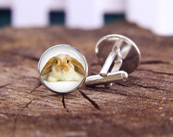 Easter Bunny Cufflinks, Rabbit Cuff Links, Custom Wildlife Cufflinks, Animal Cufflink, Custom Wedding Gifts, Groom Cufflink, Tie Clip Or Set