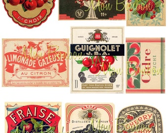 Vintage Fruit, Cherries, Strawberries Label Ephemera Digital Collage Sheet - DIY Printable - INSTANT DOWNLOAD