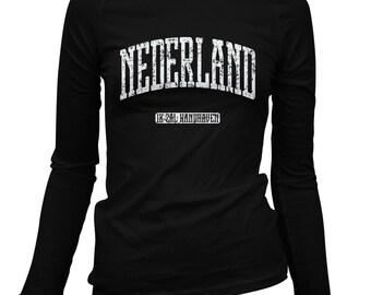 Vrouwen Nederland LS T-shirt - Nederland lange mouw Dames Tee - S M L XL 2 x - Holland - 1 kleur