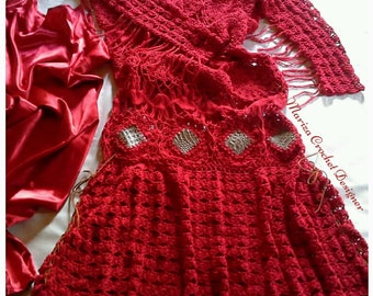 Crochet Dress, Crochet , Red crochet boho dress, designer crochet dress .Fashion crochet dress