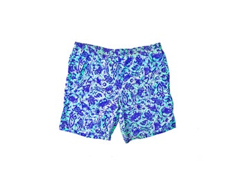 Wicked 80s Beach Sport Allover Print Surf Drawing Swim Trunks - 36 to 41