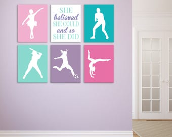 Female Athlete Wall Art - She Believed See Could - Girls Soccer Decor - Ballet Decor - Teen Girl Room - Gymnastics Art - Multi Sports Art