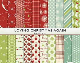 Loving Christmas Again Digital Paper -20 Sheets -Red Green - Holiday - Scrapbooking Commercial  G7233