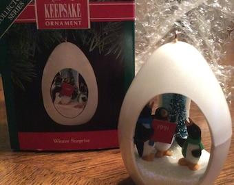 Vintage 1991 Winter Surprise HALLMARK Keepsake Ornament