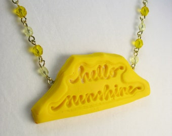 Yellow clay glass necklace ... handmade yellow polymer clay pendant hung from glass beaded chain ... hello sunshine