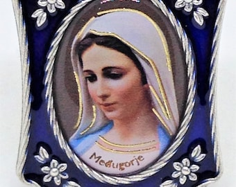 Our Lady of Medjugorje Blessed Virgin Mary, Enameled Medjugorje Shrine, Navy Blue Enameled Medjugorje on Stand