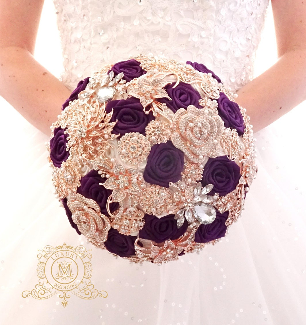 BROOCH BOUQUET Plum And Rose Gold. Purple Wedding Bridal