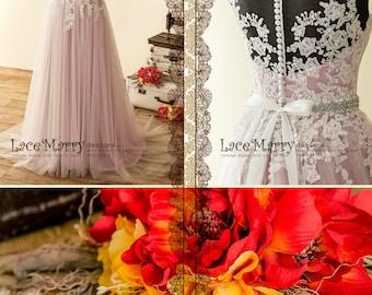 Lilac Underlay Boho Wedding Dress with Illusion Neckline and Sheer Back, Lavender Wedding Dress, Blush Wedding Dress, Bohemian Wedding Dress