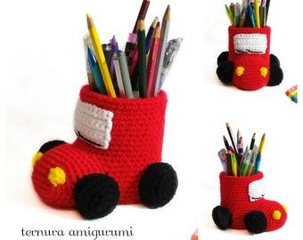 Crochet pattern for pencil holder car pdf english- español by ternura amigurumi