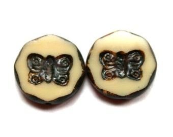 2 Authenic Picasso Ivory Butterfly Czech Beads