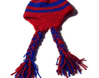 Earflap Hat, Unisex, Red And Blue, Braided Crochet Cap