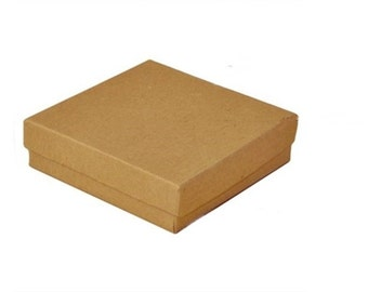 """New 100 Kraft Cotton Filled jewelry Packaging Gift Boxes Size 3 1/2"""" X 3 1/2"""" x 1"""""""