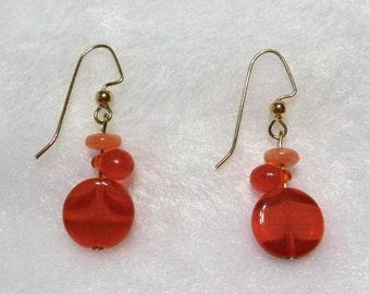 "Orange ""Tipsy"" Earrings  E-085"