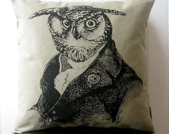 Vieux hibou sage sérigraphie coton toile throw pillow 18 pouces kaki