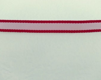 "Red and Pink Narrow Grosgrain Ribbon 3 1/3 Yards, 3/8"" wide for Craft and Decor, New Old Stock, NOS"