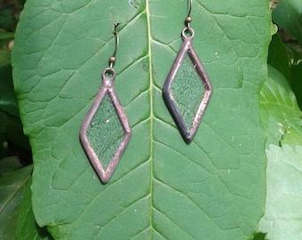 Recycled glass earrings, diamond