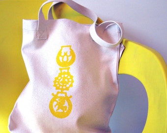 horse brass tote bag - natural/lemon zest yellow - mens womens accessories for her - SALE