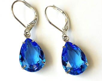Swarovski Sapphire Crystal Earrings Sapphire Crystal Drop Earrings Small Blue Art Deco Earrings Silver Drop Earrings Wedding Jewelry Gifts