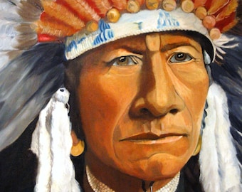 Indian Chief in War Bonnet, Indian Headdress, Native American Indian Chief, Tribal