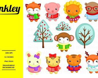 Winter Animal Clipart, Winter Animal Clip Art, Winter Animal Png, Lion Clipart, Tiger Clipart, Winter Clipart, Rabbit Clipart, Cute Animal