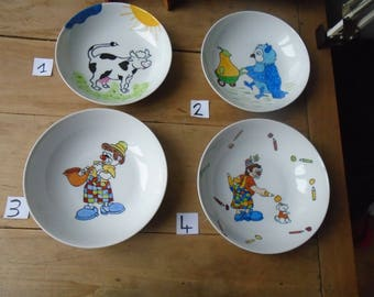 Kids unique hand - painted porcelain plate