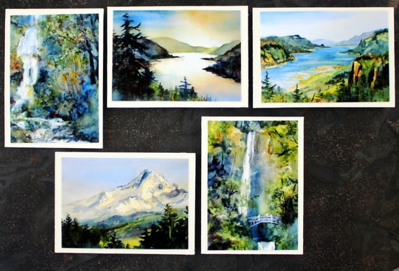 Columbia Gorge Magets #5 - Bonnie White watercolor prints in five 2 1/5x3 1/2 refrigerator magnets, handmade and signed