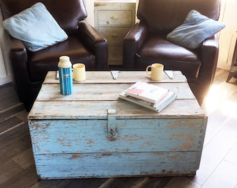 "Large Rustic Wooden Storage Chest with Natural Shabby Light Blue ""Primitive Distressed Beauty"""