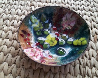Mid Century Art Metalware Enamel on Copper Dish