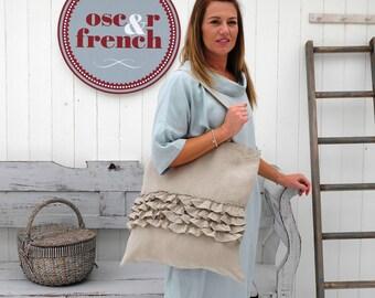 Ruffled Linen - Linen Bag - Linen Tote Bag - Linen Shopper Bag - Linen Beach Bag - Boho Bag - Ruffles - Shabby Chic Bag