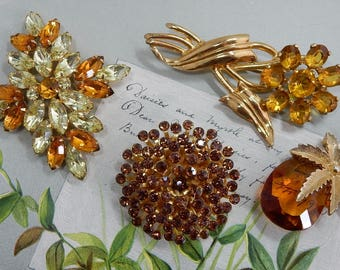 4 Vintage Amber or Topaz Rhinestone Brooch Lot