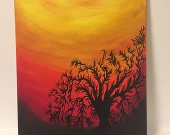 Acrylic Painting Original - Tree on Colour
