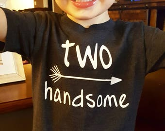 Boys 2nd Birthday Shirt - 2nd Birthday Shirt - Two Handsome Shirt - 2nd Birthday Boy - 2 Year Old Birthday - Two Year Old Birthday Shirt