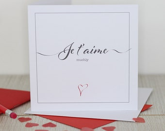 Love / Valentines card - Je t'aime muchly
