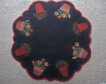 Autumn Sunflowers & Bittersweet Candlemat /Tablemat/Penny Rug (Wool felt embroidered)