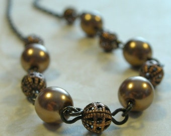 Copper Pearl and Filigree Necklace