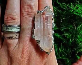 Quartz crystal and silver ring, double quartz point ring, double quartz crystal, natural quartz and silver ring