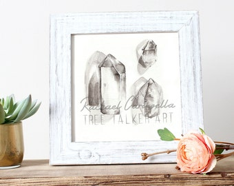 Crystal Collection Drawing- Giclee Fine Art Print - Pen and Ink Illustration - quartz Painting Illustration
