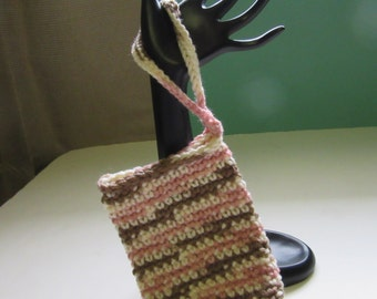 Pink and Brown Cell Phone Tote, Cellphone Case, Wrist Strap, Camera Tote, Case, Crochet, Handmade, Yarn Accessory Case, Small Tote, Bag