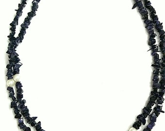 """Blue sun stone synthice  with pearl necklace 34"""" inch handmade beautiful stand ,SKG025"""